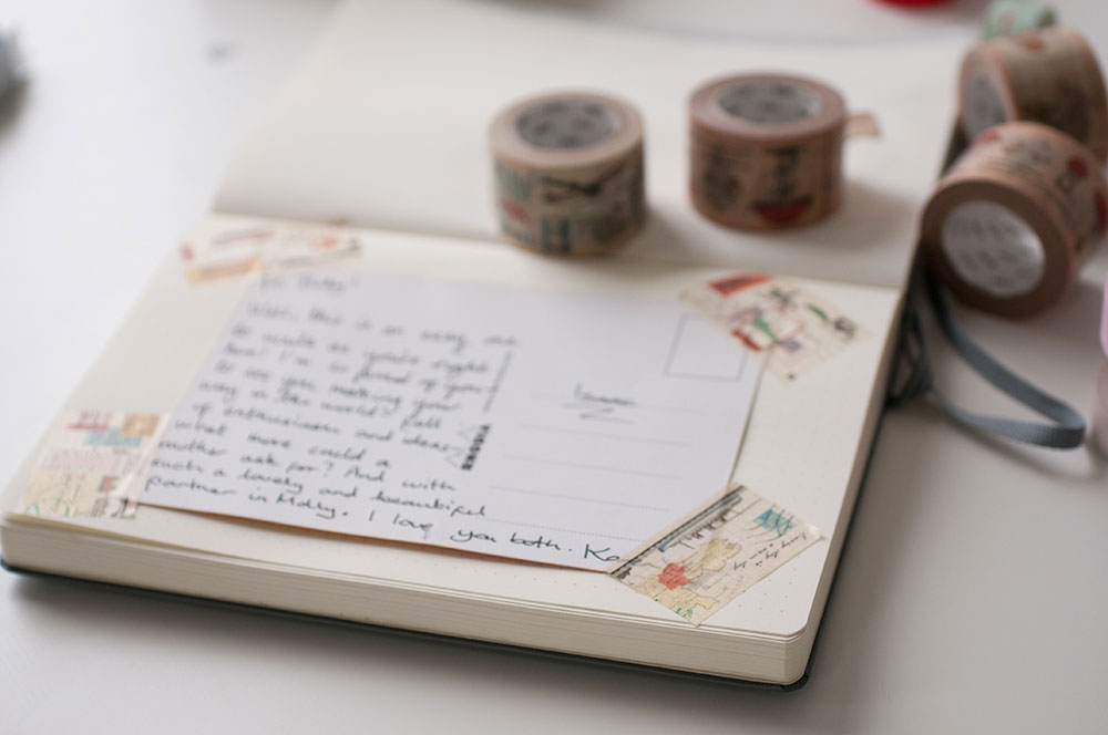 6 uses for washi tape in a bullet journal - postcards