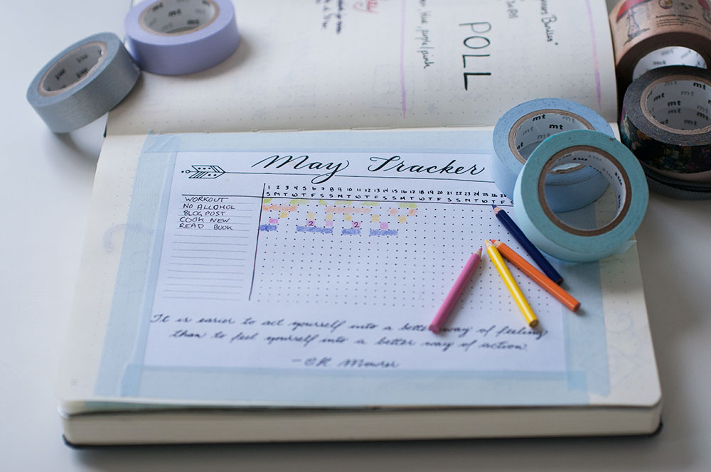 6 uses for washi tape in a bullet journal - printables