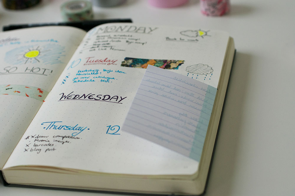 6 uses for washi tape in a bullet journal - tipped in pages