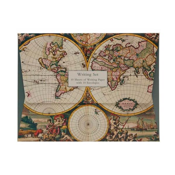 map themed stationery - vintage writing set