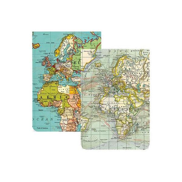map themed stationery - vintage pocket notebooks