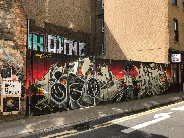 stationery shop walk shoreditch london - graffiti
