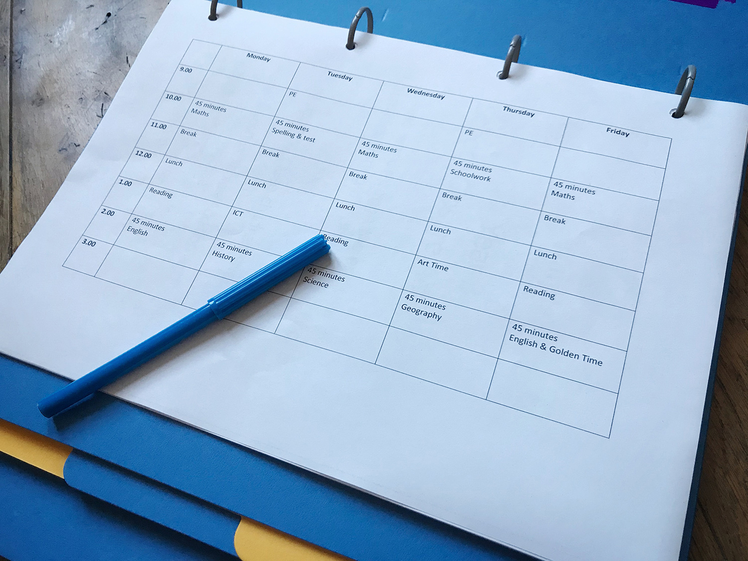 home working vs home schooling - school timetable