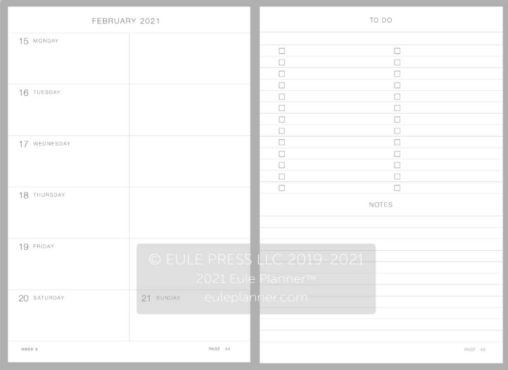 2021 eule diary planner weekly layout