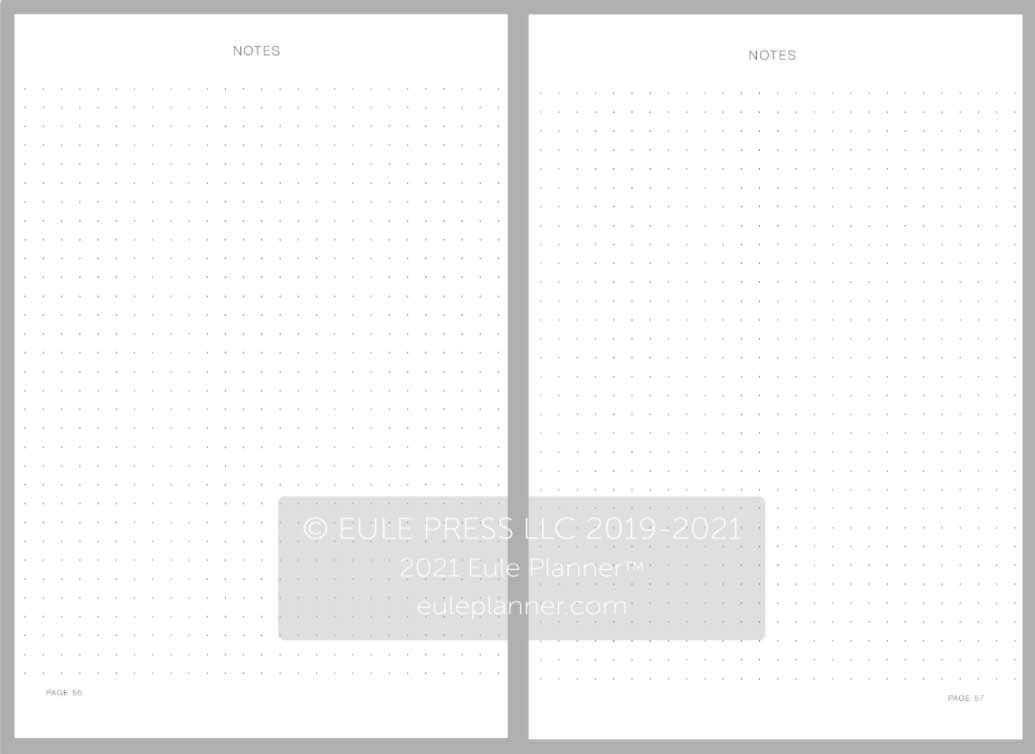 2021 eule diary planner notes layout