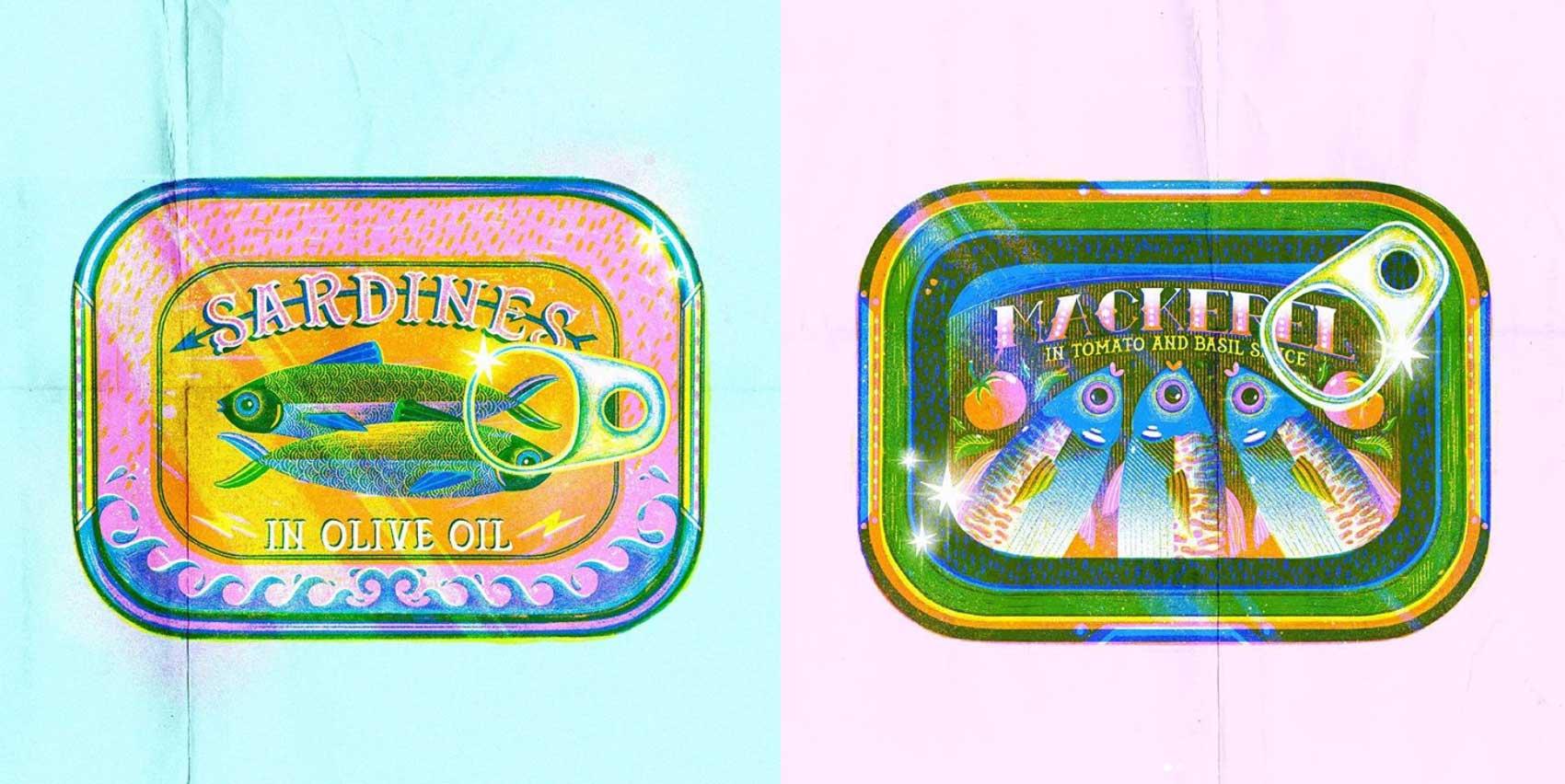 jasmine floyd risograph print fish tins