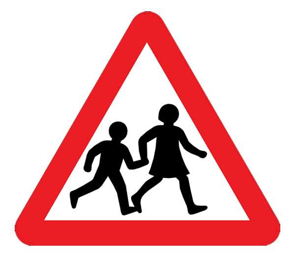children crossing road saign