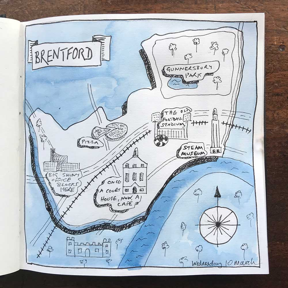 sketchbook day 10 - map brentford