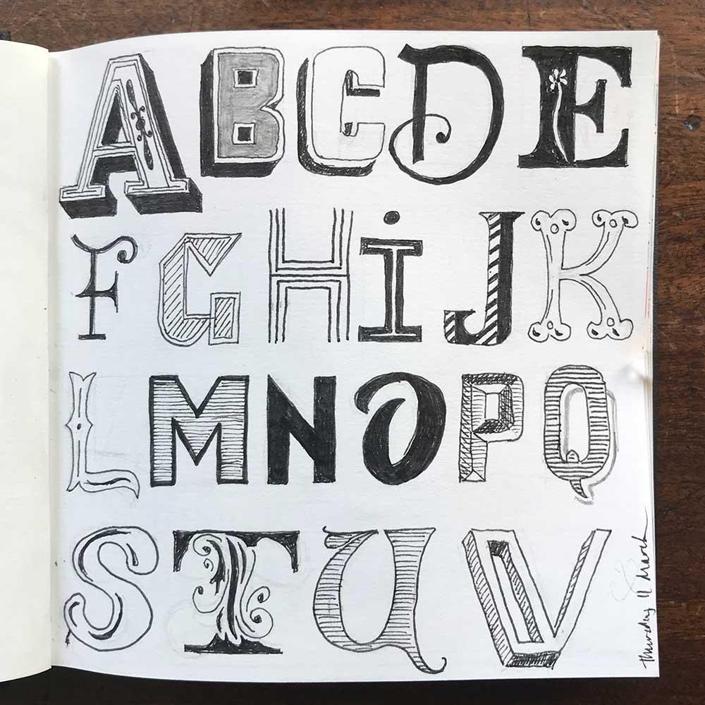 sketchbook day 11 - alphabet