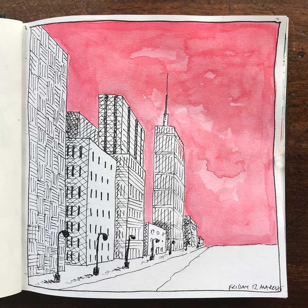 sketchbook day 12 - city red sky
