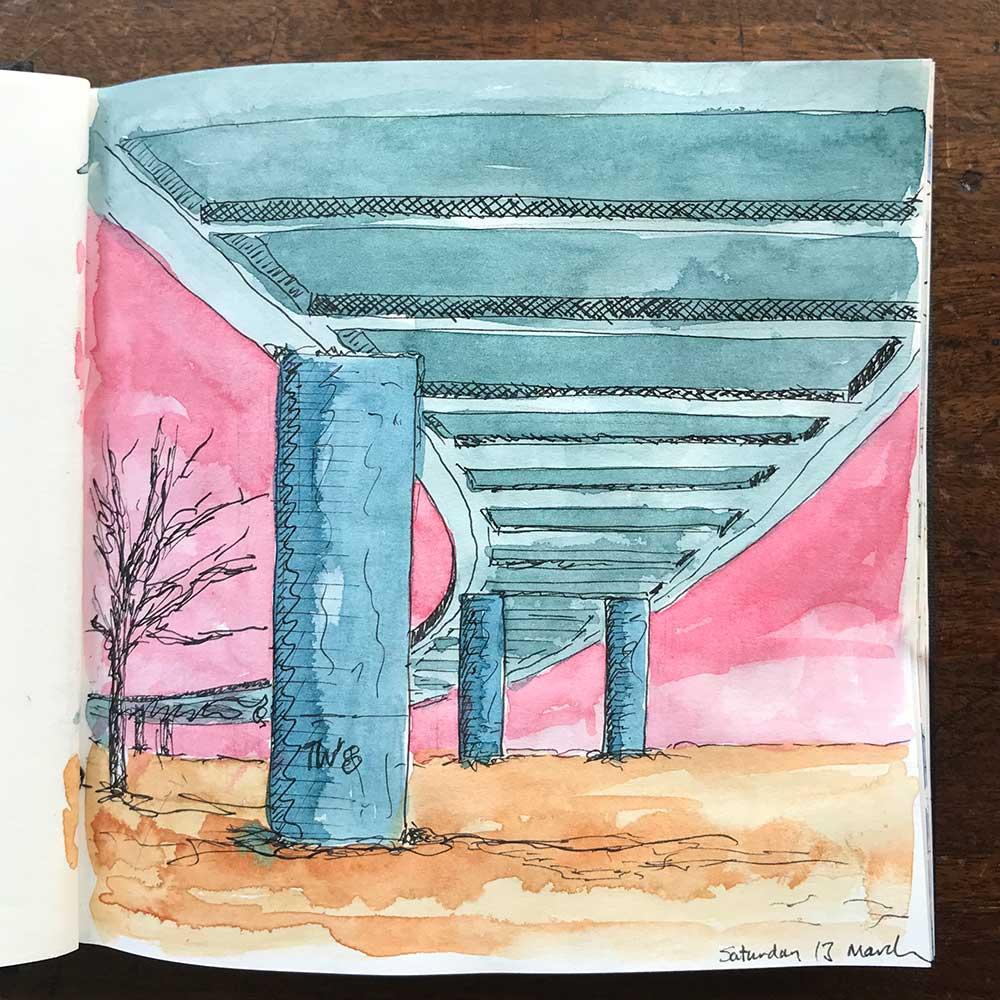 sketchbook day 13 - m4 flyover