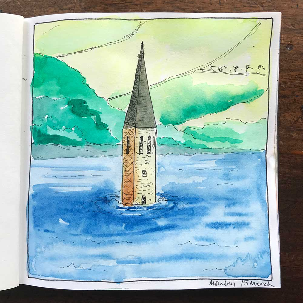 sketchbook day 15 - drowned church