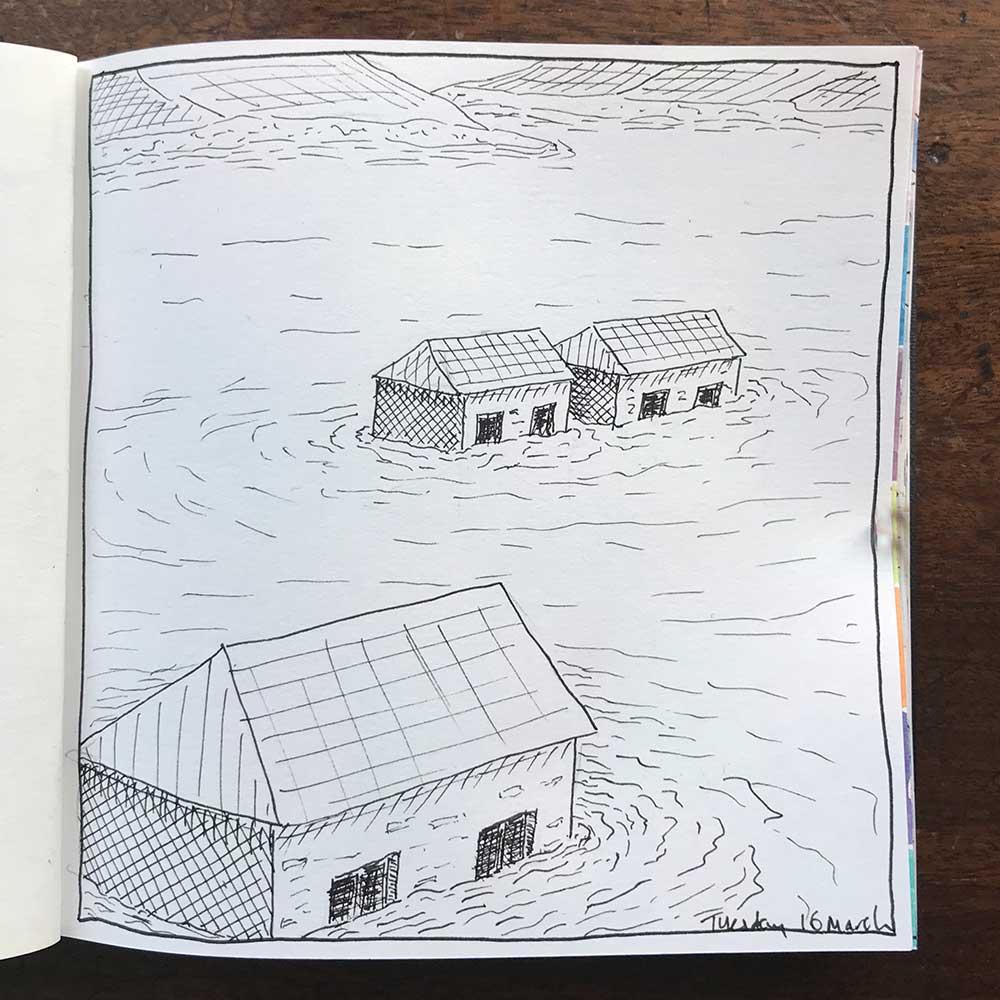 sketchbook day 16 - drowned village