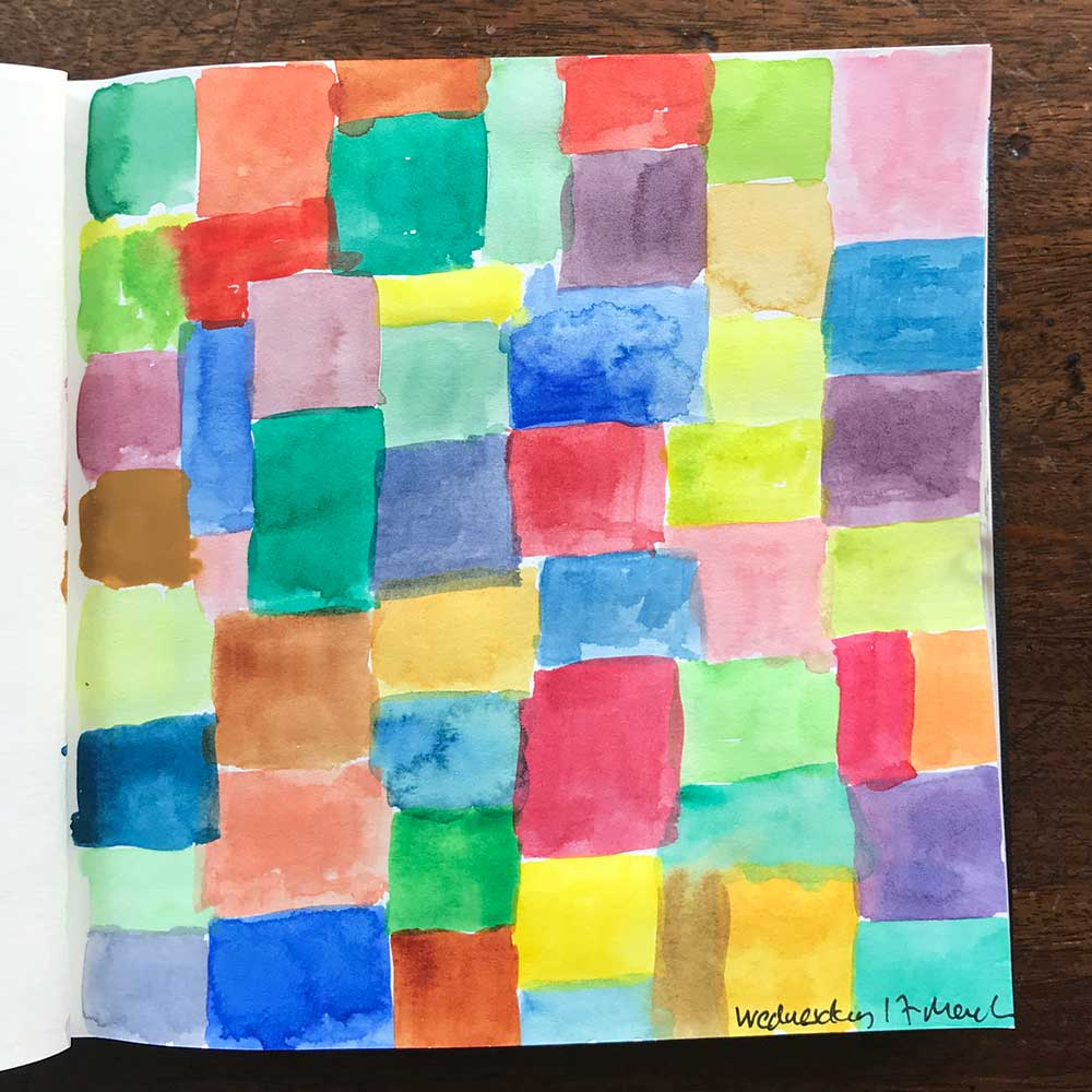 sketchbook day 17 - colour swatches