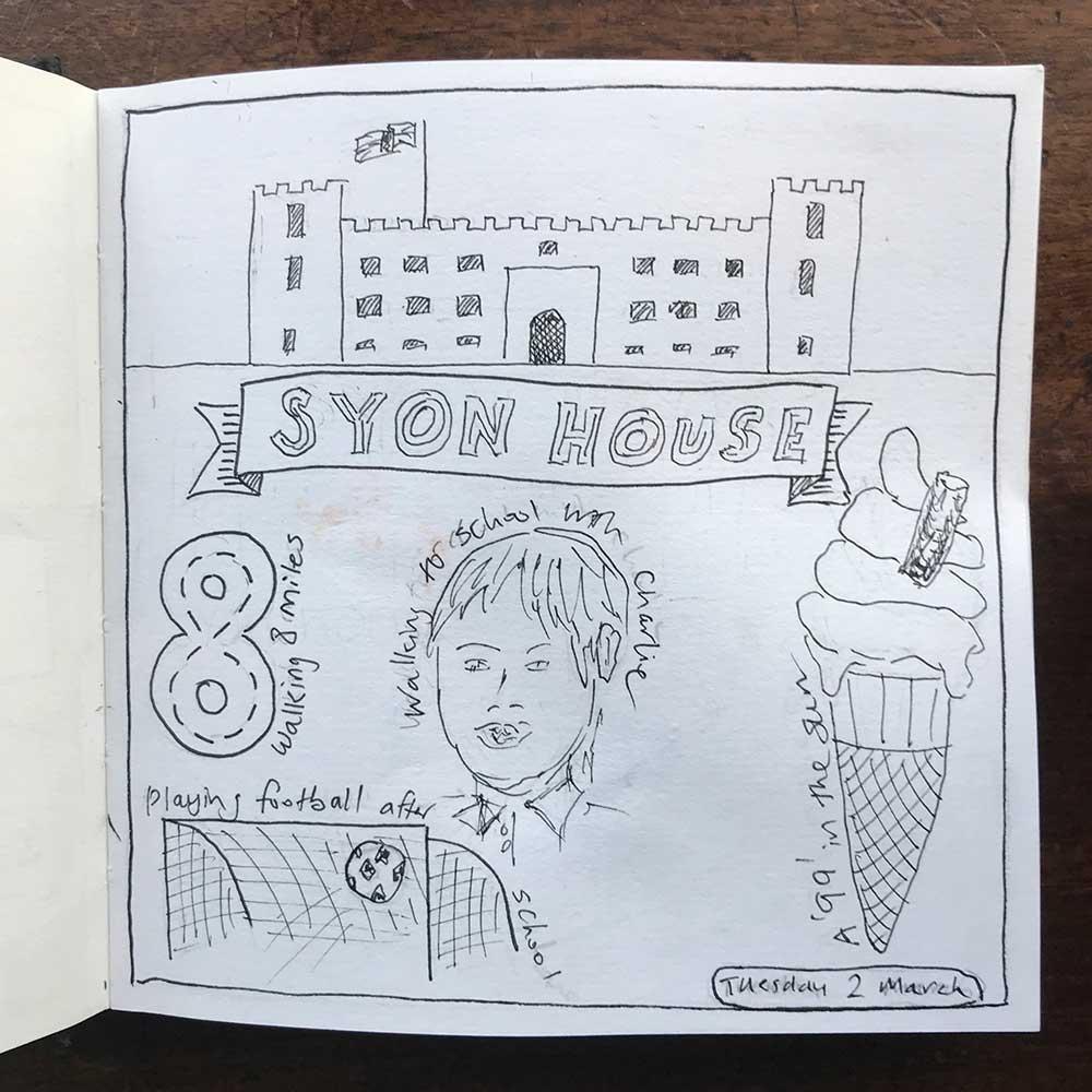 sketchbook day 2 - school run