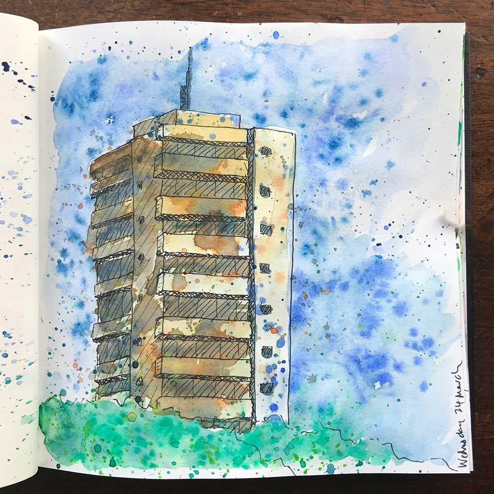 sketchbook day 24 - tower block