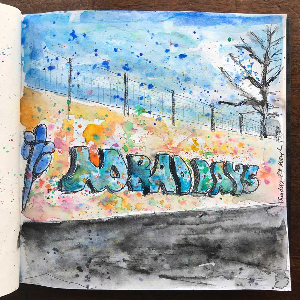 sketchbook day 28 - local playground grafitti