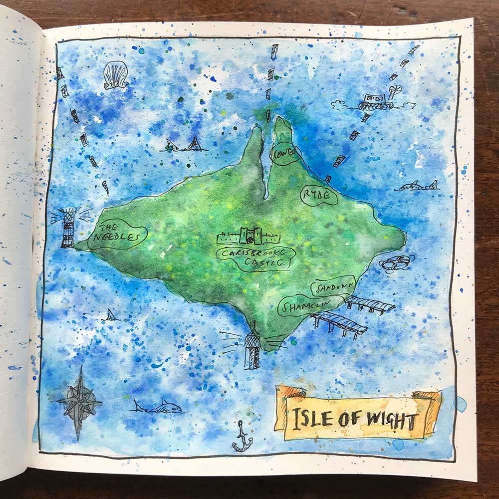 sketchbook day 31 - isle of wight map