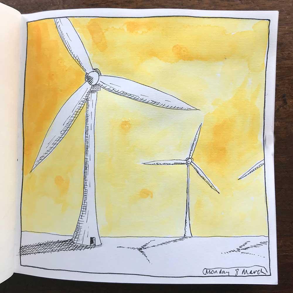 sketchbook day 8 - wind farm